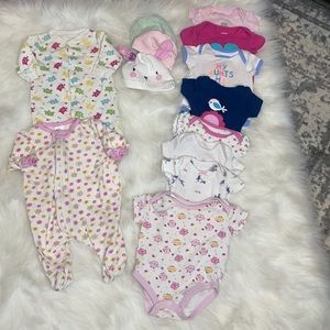 NB Baby Girl lot - Onsies & Sleep Sack. Mix Brands
